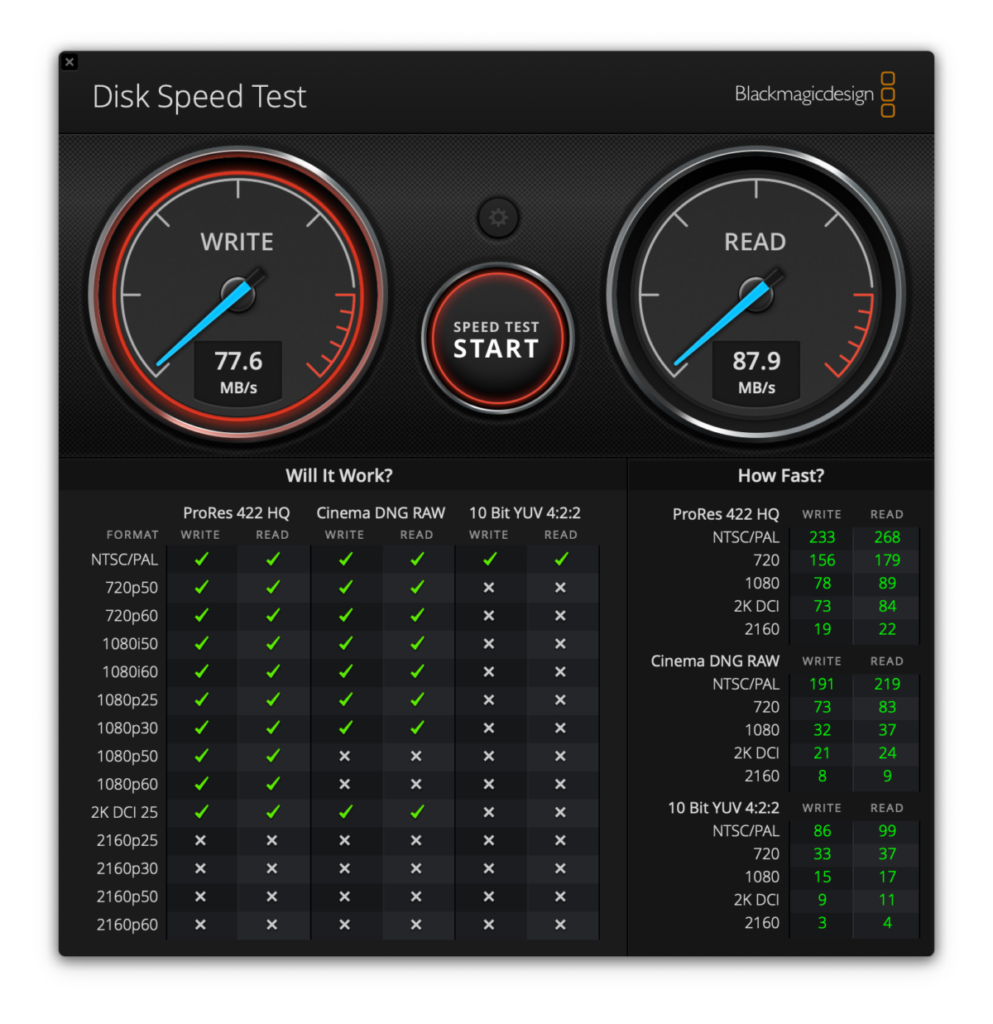 Sandisk Extreme PRO speed test